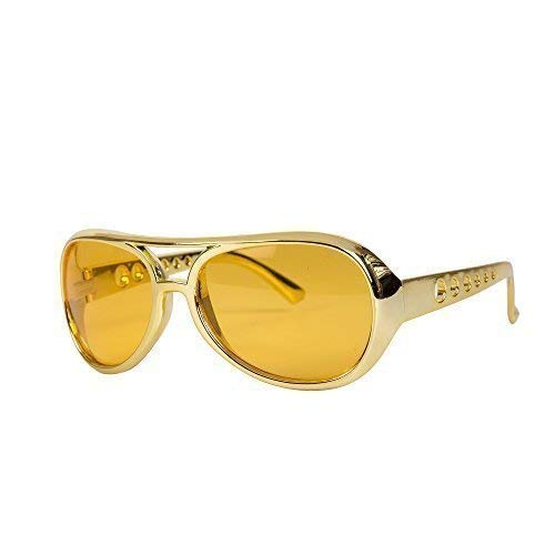 Elvis Style 70s Rockstar Fancy Dress Glasses with gold coloured frame.
