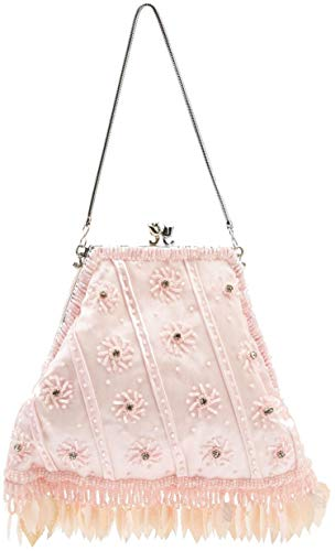 Piccola chiusura a nappe in stile vintage, con perline di raso e strass, per borsa da sera, colore: rosa confetto