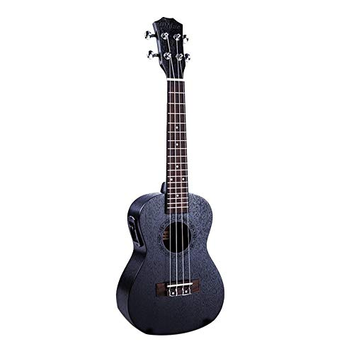 NIMEDI Ukulele 23-Zoll-Black Electric-Konzert-Ukulele 4-Saiter-Mahagoni-Panel Hawaii-Gitarreninstrument