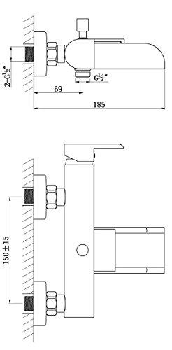 AquaSu – Badewannenarmatur, Einhandmischer, Wasserfall, Schwallauslauf, Chrom - 3