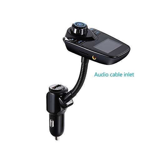 FM Transmitter Zigarettenanzünder Car Kit, Blaue LED-Anzeige 2.1A USB-Ladeanschluss Unterstützung U-Disk TF-Karte AUX, Freisprech-Sprachnavigation Musik abspielen ()