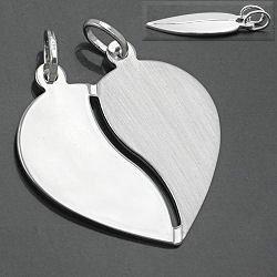 Preisvergleich Produktbild Cindio Freundschaftsanhänger, Herz mit 2 Ösen, Silber 925, Abmessung: 23x22mm