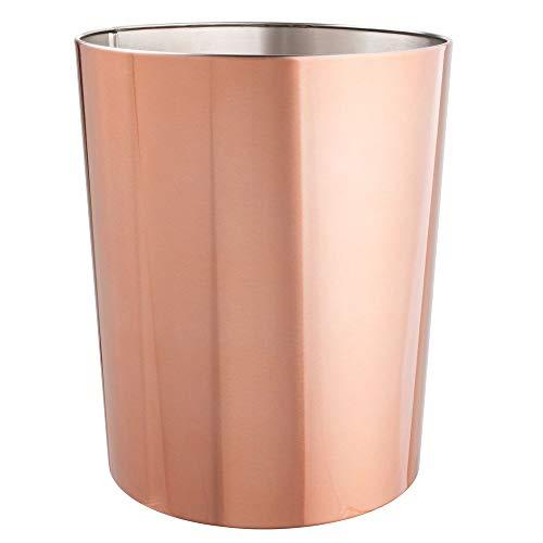 mDesign runder Mülleimer - kompakter Abfalleimer für Bad, Büro und Küche mit ausreichend Platz für den Müll - Papierkorb aus Edelstahl - rotgold