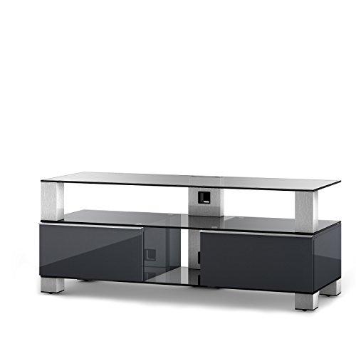 Sonorous MD9120CINXGRPFF Meuble TV Verre/Aluminium 49 x 120 x 44 cm