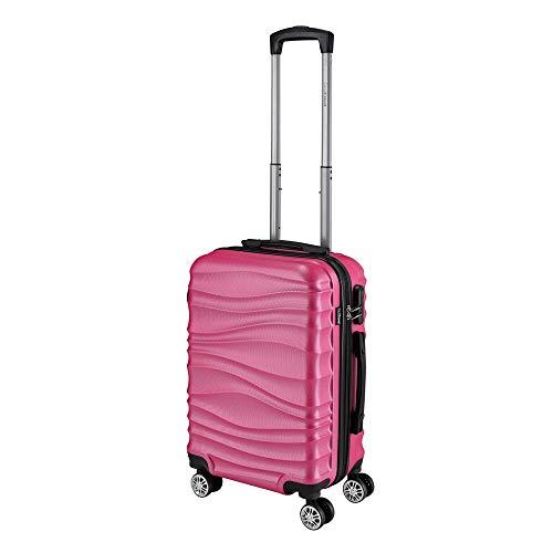 Go2Travel robuster Hartschalenkoffer Carlo, Reisekoffer als Trolley mit Vier 360° Rollen, Hartschale, inkl Zahlen-Schloss, M, Pink