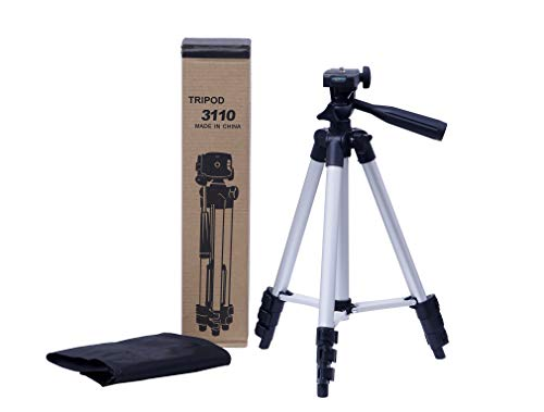 VITRICO Tripod 3110 Portable - Aluminium Light Weight - Camera Stand with 3-Dimensional - Head for Video Cameras and Mobile Tripod - Fully Flexible Mount Cum Tripod - Silver & Black