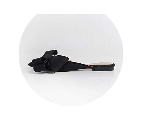 Fashion Spring Summer Slippers Women's Shoes Korean Silk Satin Pointed Bow Slipper Flat Heel Slides Semi Plus Size,Black(high 1.5cm),6 Stiletto Heel Ankle Tie