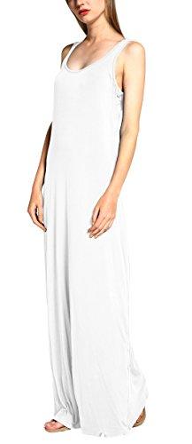 Damen Ärmellos Langes Top Stretch Maxi Kleid Weiß