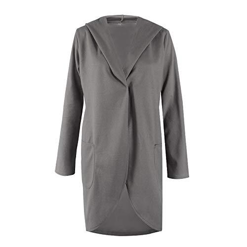 Discount Boutique Herbst und Winter Frauen Pullover Volltonfarbe Kapuzenjacke Shirt Casual Fashion Lange Strickjacke mit Seitentaschen warme Jacke -