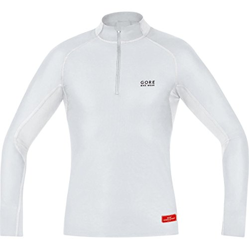 GORE BIKE WEAR Base Layer Windstopper - Maillot cuello de ciclismo para hombre, color gris/blanco (light grey/white), talla XL