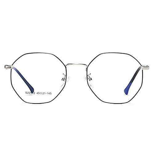 YHDD Strahlungssichere Retro Polygon Unregelmäßige literarische Farbwechsel Anti-Blau Brille Männer und Frauen Rahmen Brille Rahmen