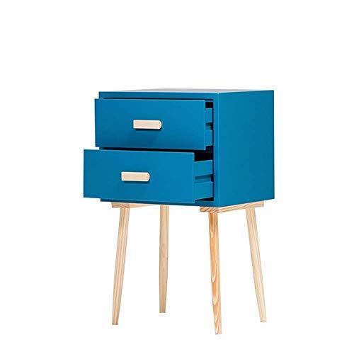 Weiße Dünne-speicher-kabinett (Sisyph-c Brown Holz dünne Beistelltisch Massivholz-Bett-Speicher-Kabinett Nordic Modern Schlafzimmer Sofa (Größe: 72 * 43 * 33 cm) (Color : Lake Blue))