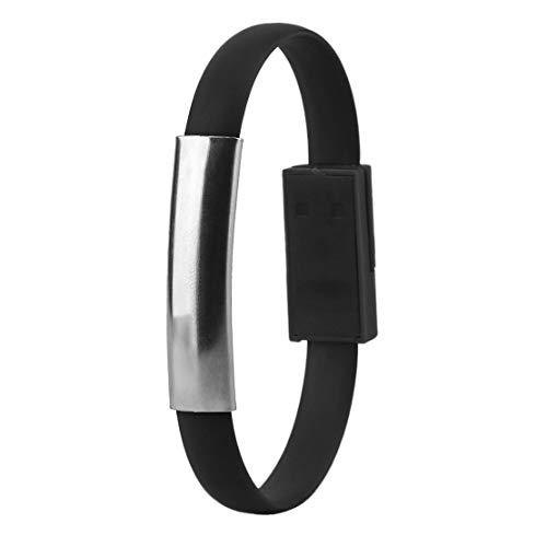 Modische kreative USB Ladekabel Handgelenk Armband Daten Sync Ladegerät Kabel Kabel geeignet für Android Handys - schwarz