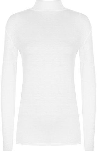 WearAll - Übergröße Damen Rollkragen Langarm Elastisch Bodycon Top - Weiß - 52-54 (Rollkragen-weiß Kleidung)