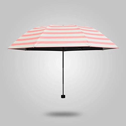 Striped Fold Sunny Umbrella Shade Sonnenschirm Sonnenschutz UV Black Rubber Männer und Frauen (Farbe: Pink)
