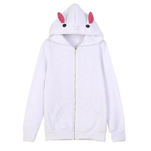 AMUSTER Donne Carino Bianco Caldo Cappotto Giacca Top Outwear Cappotto Con Cappuccio (M)