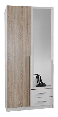 Wimex 119210 Kleiderschrank, 2-türig mit zwei Schubkästen und einer Spiegeltür, Front Korpus Außentüren Eiche Sägerau Nachbildung, 90 x 198 x 58 cm