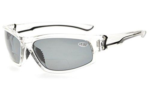 Eyekepper Sport Bifocal Lesebrille Polycarbonat Polarisierte Sonnenbrille TR90 Unzerbrechlicher Baseball Laufen Angeln Fahren Golf Softball Wandern(Klare Rahmen/graues Linse,+ 2.00)