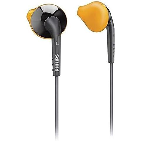 Philips SHQ1017GY Auriculares de deporte Sports in-Ear auriculares con micrófono para iPhone/iPod - bolsa de viaje abultaban con, Accessory carcasa rígida y resistente al sudor tapón antipolvo para conector de auriculares de 3 tamaños para mayor ajuste - naranja/gris