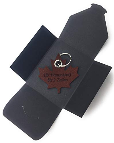 filzschneider Schlüsselanhänger aus Filz - Ahornblatt/Kanada - dunkel-braun/nuss-braun mit Namensgravur