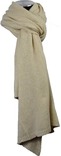 Made Italy schöner, weicher Strickschal/Schal mit Kaschmir und Wolle MIT EXKLUSIVEM SCHALSCHMÜCKER, Winterschal für Damen aus der Kollektion 17/18 (uni beige)