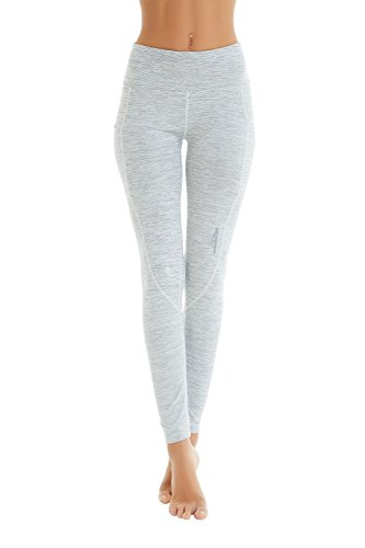 COOLOMG Damen Shorts Leggings Caprihose Yoga Sport Training Fitness mit Taschen ,Grau-Weiß  (lang),XL -