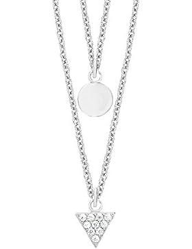 s.Oliver Damen-Kette mit Anhänger Dreieck Kreis Geometrie 925 Silber rhodiniert Zirkonia weiß 45 cm-2012499