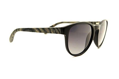 LIVEALIFE Holzbrille Sonnenbrille Bügel Holz Candywood Federscharniere Greysy Greg UV400 rund dunkel schwarz 2017