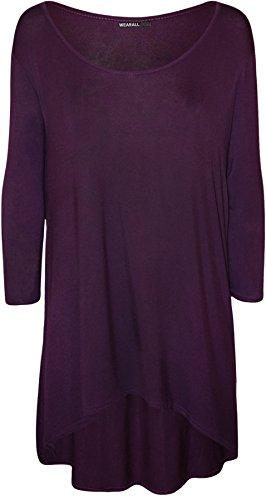 WearAll - Plus la taille plaine manches 3/4 long étirement Mesdames ourlet plongeant Haut - Hauts - Femmes - Grande Tailles 44 à 54 Pourpre