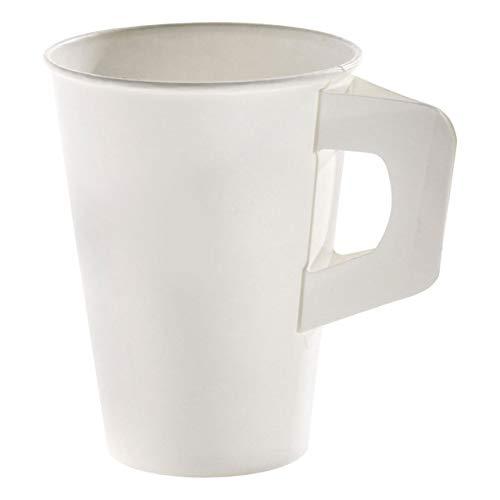 160 Stk. Henkelbecher Kaffeebecher weiß, Pappe beschichtet, 180 ml / Soll\'s ein wenig eleganter sein? Caféhaus-Flair versprüht dieser Henkelbecher. Er verbindet die hohe Stabilität des Bechers mit dem komfortablen Handling einer Porzellantasse.