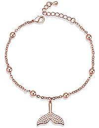 235cc3fde215 wangzz Pulseras del Encanto para Las Mujeres Crystal Mermaid Tail Jewelry  Girl Perla Ajustable Zircon Pulsera…