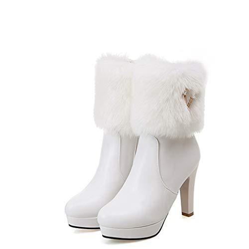 Junjie Herbest Winter High Heel warme Damen Stiefel Strass niedrige Stiefel Dicke Rhinestone Rhinestone Ferse Schuhe schwarz, rosa, (Kostüm 4 Ferse)