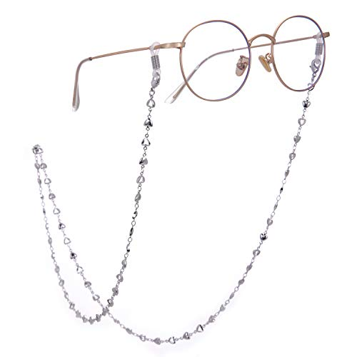 3270b8375282 LIKGREAT 2pcs Retro Eyeglass Chain Holder for Women Heart Beaded Reading  Glasses Cords (Silver +