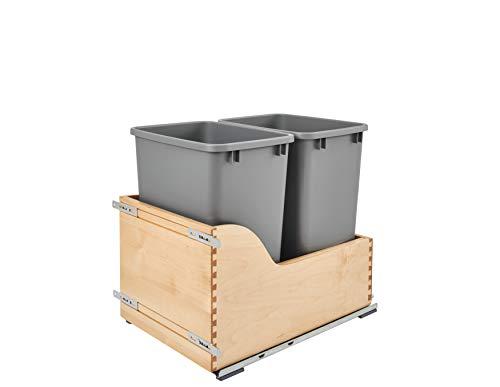 Rev-A-Shelf - 4WCSC-1835DMND-2 - Double 35 Qt. Ausziehbare Bodenmontage Holz- und Silberabfallbehälter mit Soft-Close Gleitschienen für Einbauschränke