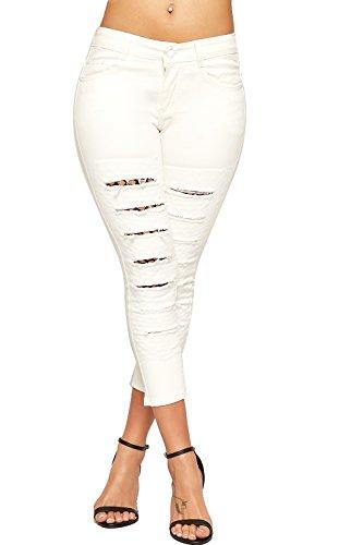 WEARALL Damen Denim Bekümmert Dünn Bein Jeans Damen Fisch Netz Gitter Voll Länge Neu - Weiß - 40 (Fisch Netz Legging)