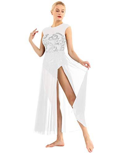 Tanz Kostüm Lyrische Performance - iEFiEL Damen Ballettkleid ärmellos Ballettanzug Lyrisch Kleid lang mit Blumen Pailletten Latein Tanzkleid Modern Tanz Performance Kostüm Weiß X-Large