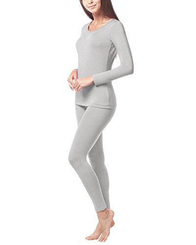 LAPASA Damen Thermal Unterwäsche Set, Funktionsunterwäsche - L017 (Medium, Grau)