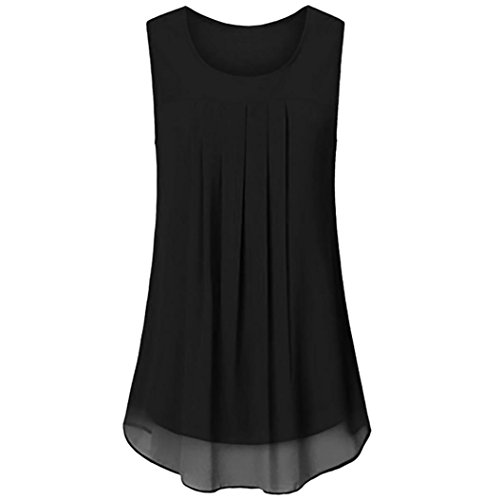 KaloryWee Women's Sleeveless Chiffon Tank Top Double Layers Casual Blouse Tunic Flowy Tops Blouse