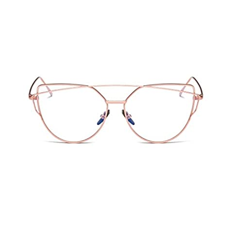 Lunettes de soleil femme - Kolylong mode rétro Twin-Beams Miroir classique en métal Lunettes (Rose, Transparent)