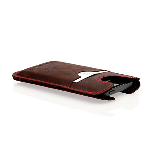 germanmade. g.5 Apple iPhone 5 / 5s / 5c Hülle / Portemonnaie aus Leder night / schwarz braun