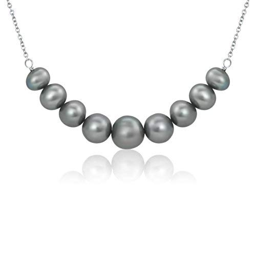 5c5fde29c Pearlyta Women's Sterling Silver 925 Round Cultured Freshwater Pearl 5-8mm  Graduated Chain Necklace -