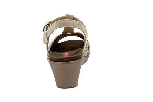 Chaussure femme confort en cuir Piesanto 4863 sandale semelle amovible confortables amples Taupe