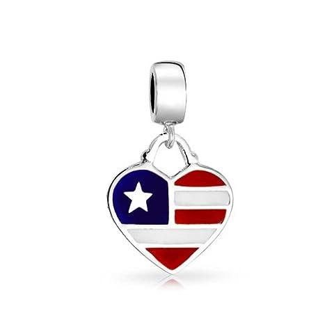 Bling Jewelry Drapeau américain Dangle en forme de coeur en argent sterling charme cordon