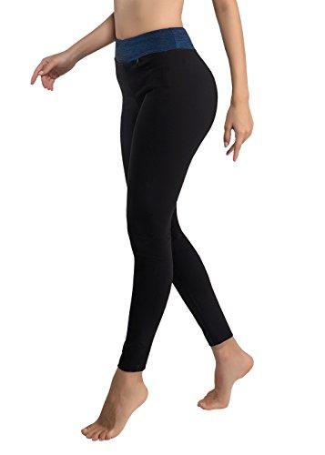 Sport Yoga Damen Hosen Legging Neunten hohen Taille Strumpfhosen für Yoga Radfahren Camping Running Jogging S, M, L, XL, XXL (38, blau)
