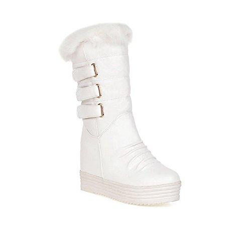 VogueZone009 Damen Mitte-Spitze Rein Ziehen auf Rund Zehe Inner Hohe Absatz Stiefel, Weiß, 38