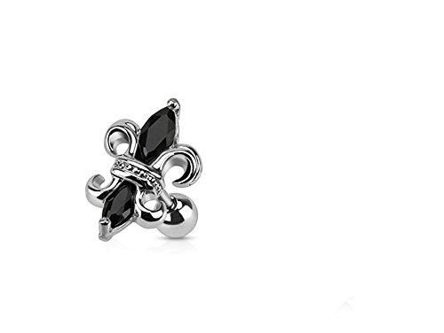 (Royal Fleur De Lis und Black Crystal Center Tragus oder Knorpel Piercing Dicke: 1.2mm Länge: 6mm Ball Größe: 4mm Material: Chirurgische Stahl)