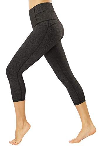 Yavero Sporthose Damen High Waist Blinkdicht Sport Leggings Elastische Tummy Control Yogahose Lange Laufhose mit Taschen,Stil: 3/4 Grau L -