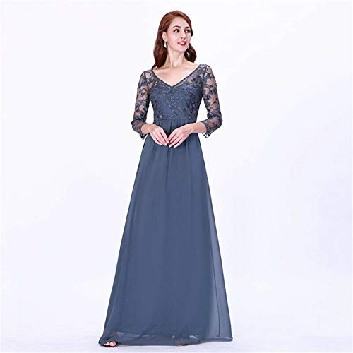 Ever-Pretty V-Neck Formal Gown Mother of Bride Homecoming Maxi Party Dress 07633 Dusty Blue 8 - Embellished Jumpsuit