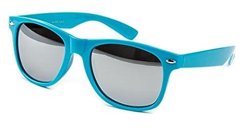 Nerdbrille Sonnenbrille Stil Brille Pilotenbrille Vintage Look Türkis voll verspiegelt WST