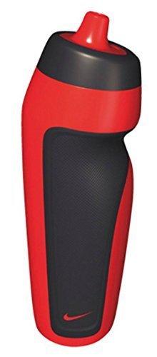 Nike Trinkflasche/Wasserflasche, zum Sporttreiben, optimale Griffigkeit, auslaufsicher, Schraubverschluss mit Ventil, 600ml, damen Herren unisex, rot / schwarz, 600 ml